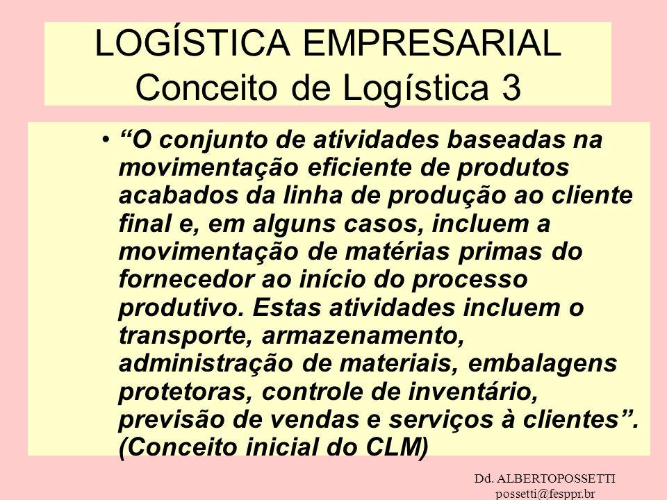Dd. ALBERTOPOSSETTI possetti@fesppr.br LOGÍSTICA EMPRESARIAL Conceito de Logística 3 O conjunto de atividades baseadas na movimentação eficiente de pr