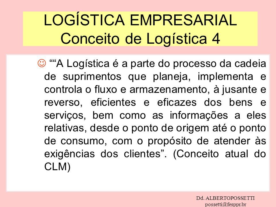 Dd. ALBERTOPOSSETTI possetti@fesppr.br LOGÍSTICA EMPRESARIAL Conceito de Logística 4 J A Logística é a parte do processo da cadeia de suprimentos que