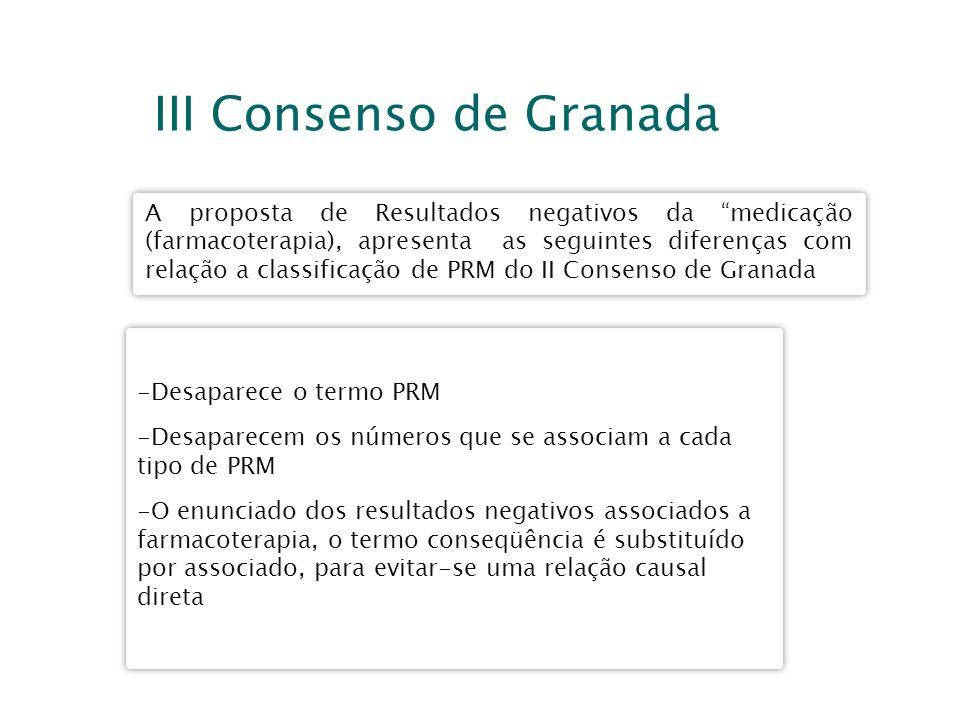 III Consenso de Granada A proposta de Resultados negativos da medicação (farmacoterapia), apresenta as seguintes diferenças com relação a classificaçã