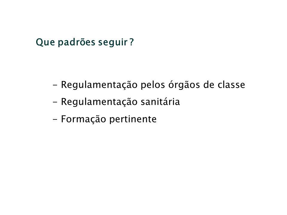 Que padrões seguir ? - Regulamentação pelos órgãos de classe - Regulamentação sanitária - Formação pertinente