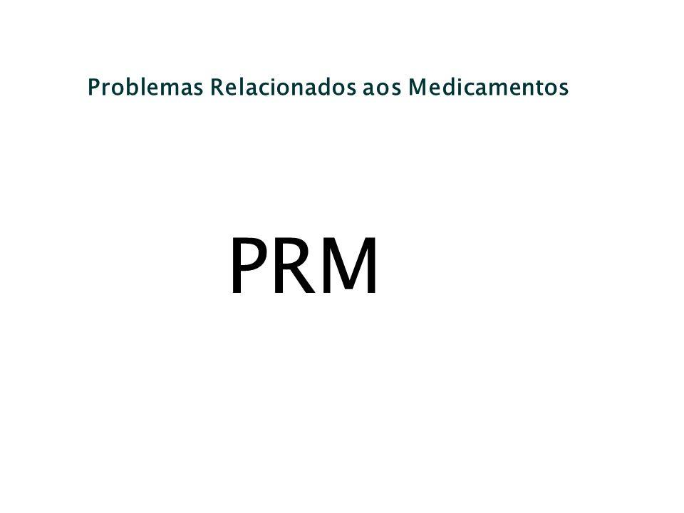 Problemas Relacionados aos Medicamentos PRM...qualquer evento indesejável experimentado pelo paciente que envolve ou é suspeito de envolver a farmacoterapia e que interfere, de fato ou potencialmente, com um resultado desejado para o paciente.