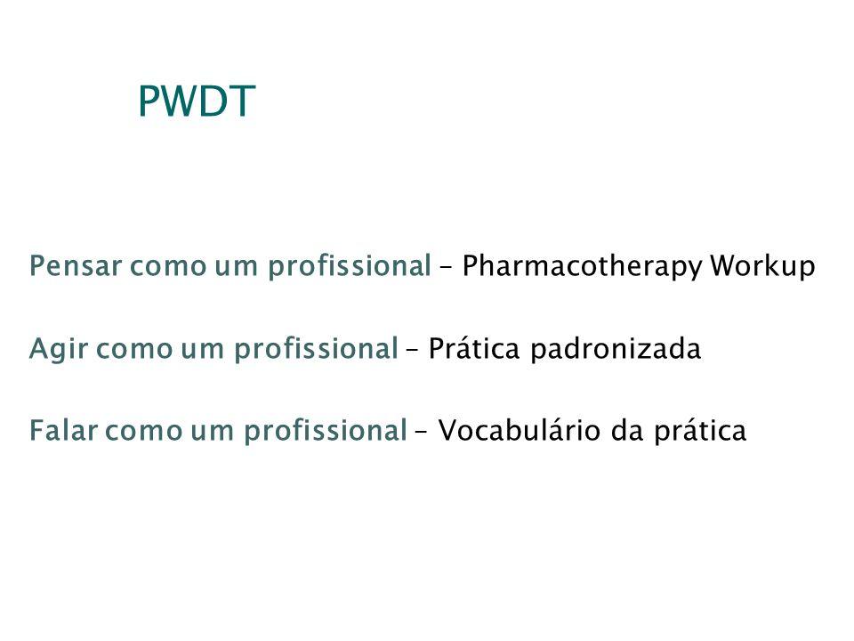 PWDT Pensar como um profissional – Pharmacotherapy Workup Agir como um profissional – Prática padronizada Falar como um profissional – Vocabulário da