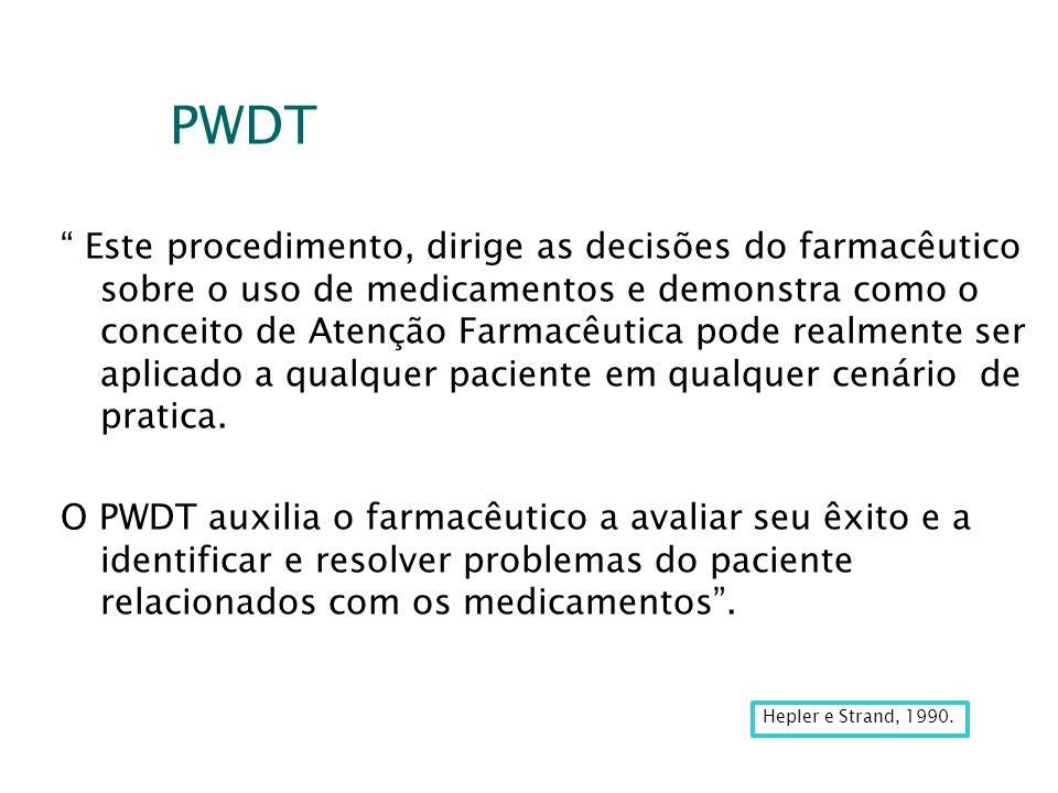 PWDT Este procedimento, dirige as decisões do farmacêutico sobre o uso de medicamentos e demonstra como o conceito de Atenção Farmacêutica pode realme