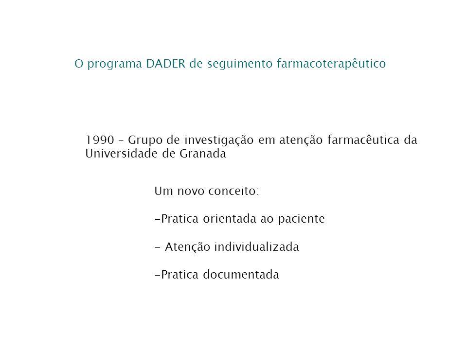 O programa DADER de seguimento farmacoterapêutico 1990 – Grupo de investigação em atenção farmacêutica da Universidade de Granada Um novo conceito: -P