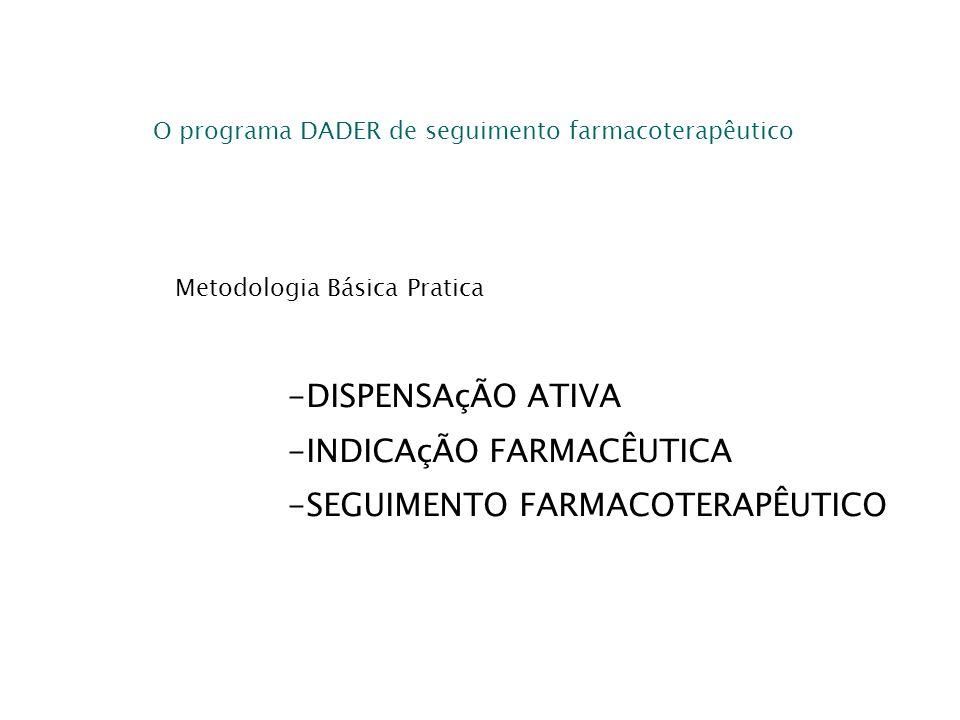 O programa DADER de seguimento farmacoterapêutico Metodologia Básica Pratica -DISPENSAçÃO ATIVA -INDICAçÃO FARMACÊUTICA -SEGUIMENTO FARMACOTERAPÊUTICO