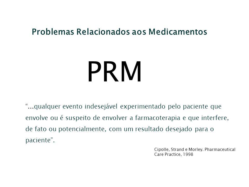 Problemas Relacionados aos Medicamentos PRM...qualquer evento indesejável experimentado pelo paciente que envolve ou é suspeito de envolver a farmacot