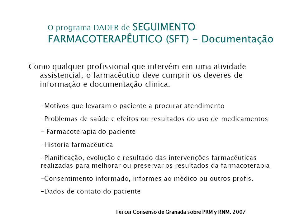 O programa DADER de SEGUIMENTO FARMACOTERAPÊUTICO (SFT) - Documentação Tercer Consenso de Granada sobre PRM y RNM. 2007 Como qualquer profissional que