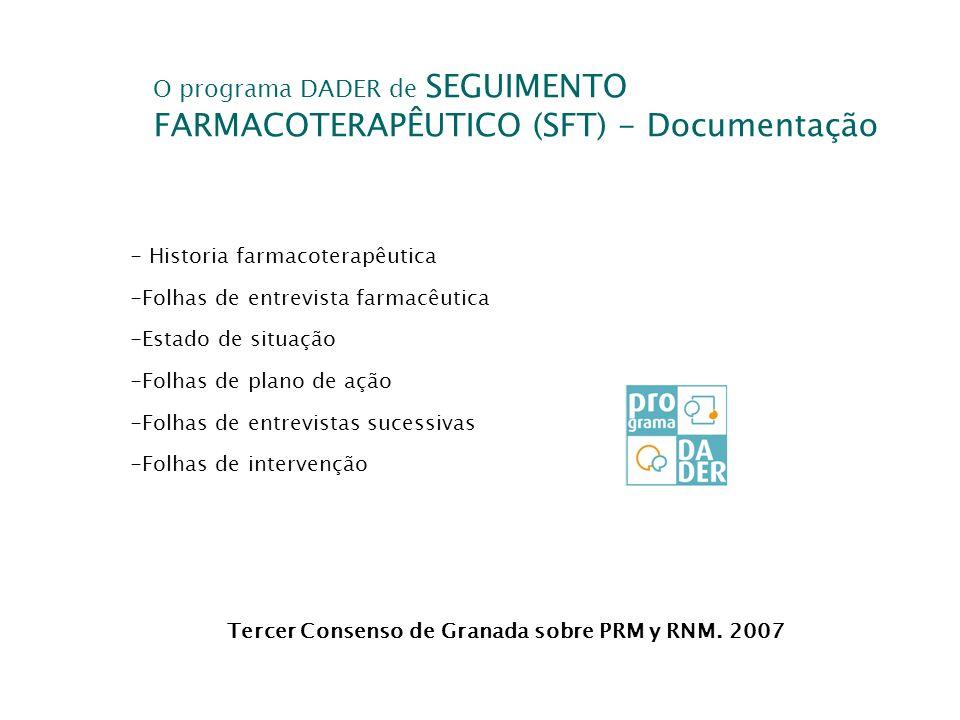 O programa DADER de SEGUIMENTO FARMACOTERAPÊUTICO (SFT) - Documentação Tercer Consenso de Granada sobre PRM y RNM. 2007 - Historia farmacoterapêutica