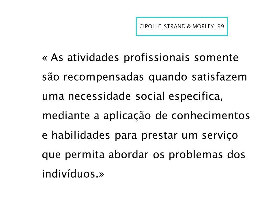 « As atividades profissionais somente são recompensadas quando satisfazem uma necessidade social especifica, mediante a aplicação de conhecimentos e h