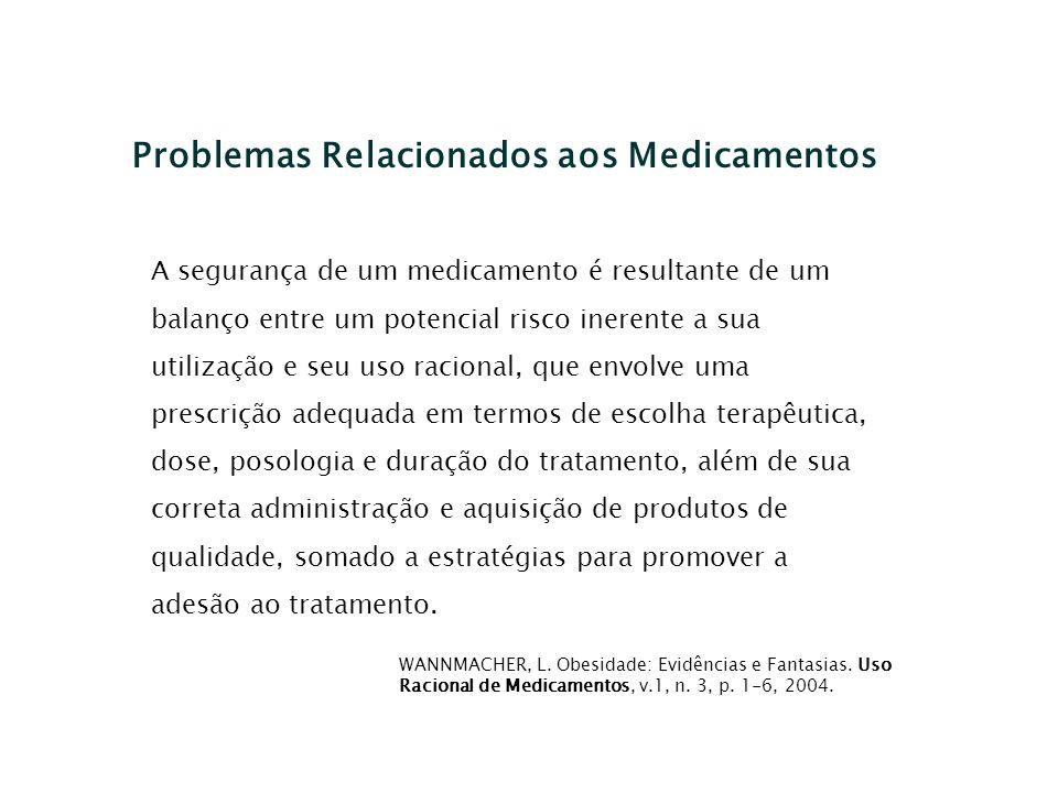 Problemas Relacionados aos Medicamentos A segurança de um medicamento é resultante de um balanço entre um potencial risco inerente a sua utilização e