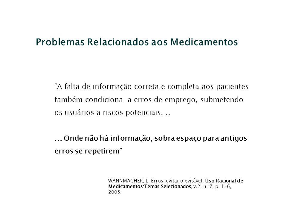 Problemas Relacionados aos Medicamentos A falta de informação correta e completa aos pacientes também condiciona a erros de emprego, submetendo os usu