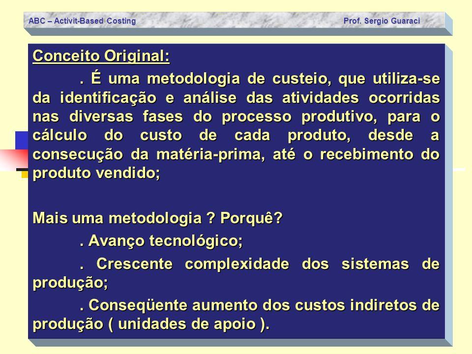 ABC – Activit-Based Costing Prof. Sergio Guaraci Conceito Original:. É uma metodologia de custeio, que utiliza-se da identificação e análise das ativi