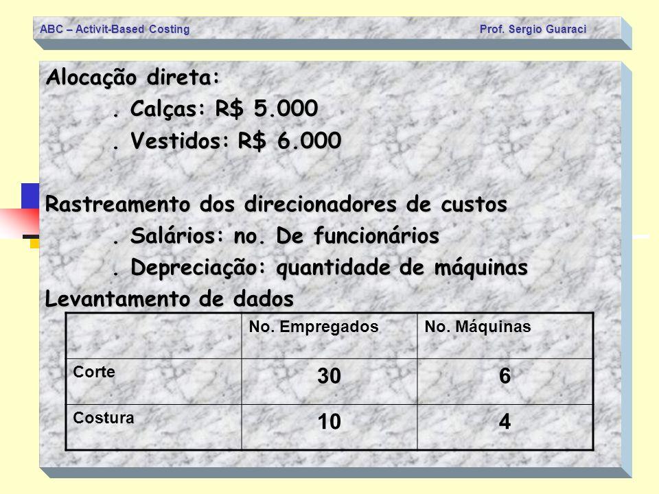 ABC – Activit-Based Costing Prof. Sergio Guaraci Alocação direta:. Calças: R$ 5.000. Vestidos: R$ 6.000 Rastreamento dos direcionadores de custos. Sal