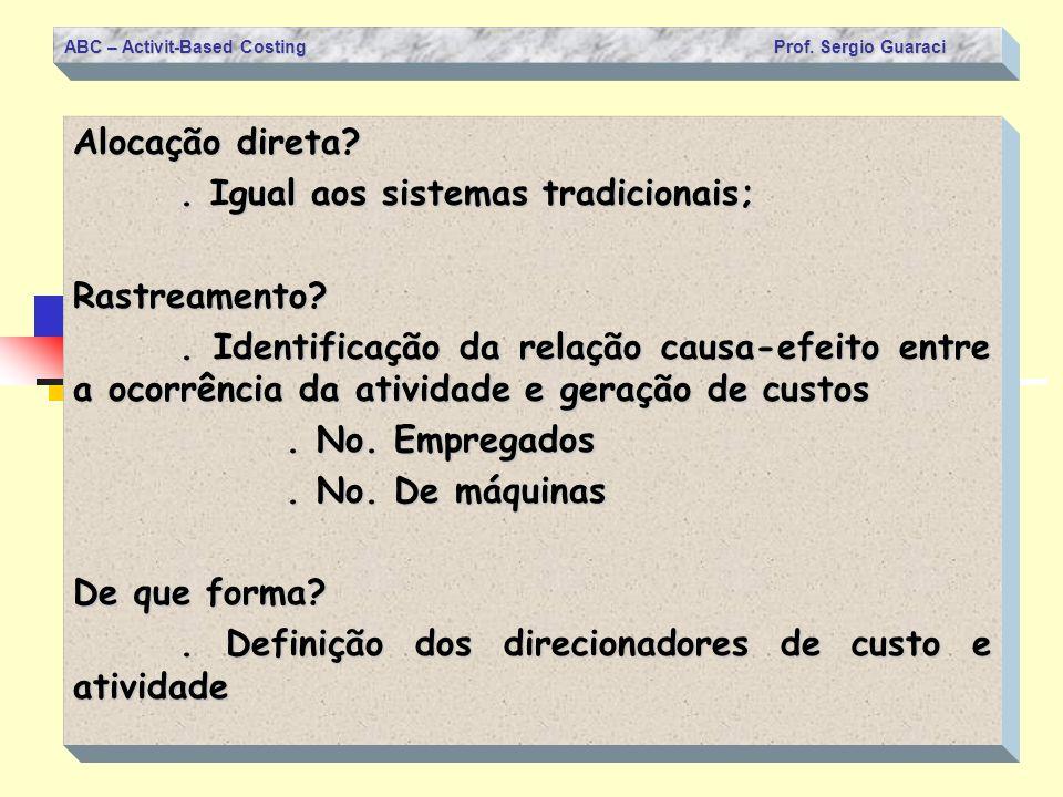 ABC – Activit-Based Costing Prof. Sergio Guaraci Alocação direta?. Igual aos sistemas tradicionais; Rastreamento?. Identificação da relação causa-efei