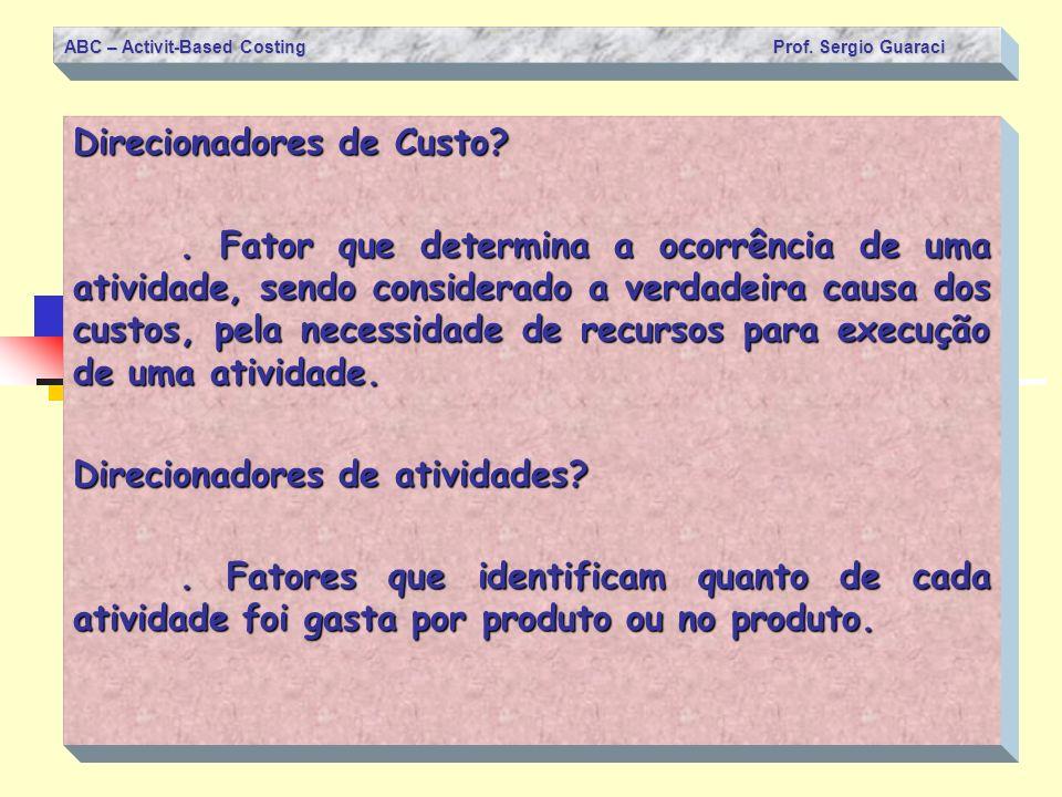 ABC – Activit-Based Costing Prof. Sergio Guaraci Direcionadores de Custo?. Fator que determina a ocorrência de uma atividade, sendo considerado a verd