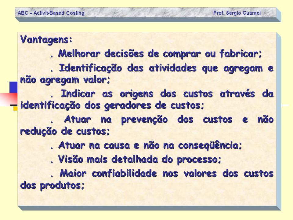 ABC – Activit-Based Costing Prof. Sergio Guaraci Vantagens:. Melhorar decisões de comprar ou fabricar;. Identificação das atividades que agregam e não