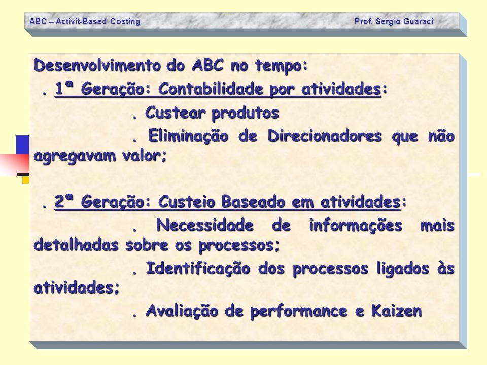 ABC – Activit-Based Costing Prof. Sergio Guaraci Desenvolvimento do ABC no tempo:. 1ª Geração: Contabilidade por atividades:. 1ª Geração: Contabilidad
