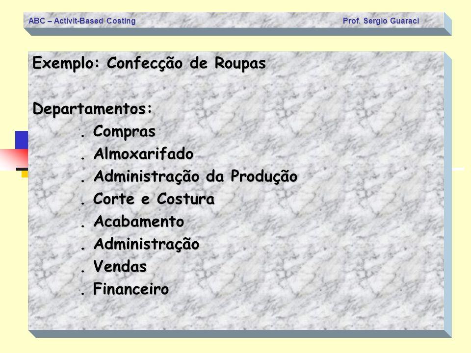 ABC – Activit-Based Costing Prof. Sergio Guaraci Exemplo: Confecção de Roupas Departamentos:. Compras. Almoxarifado. Administração da Produção. Corte