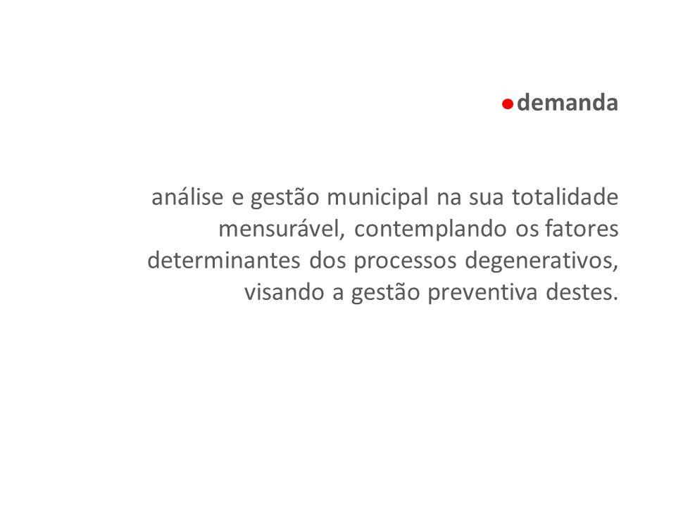 demanda análise e gestão municipal na sua totalidade mensurável, contemplando os fatores determinantes dos processos degenerativos, visando a gestão p