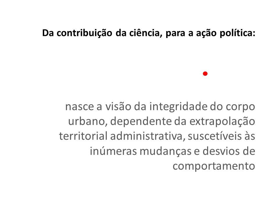 Da contribuição da ciência, para a ação política: nasce a visão da integridade do corpo urbano, dependente da extrapolação territorial administrativa,