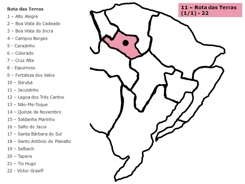11 – Rota das Terras (1/1) - 22 Rota das Terras 1 – Alto Alegre 2 – Boa Vista do Cadeado 3 – Boa Vista do Incra 4 – Campos Borges 5 - Carazinho 6 – Co