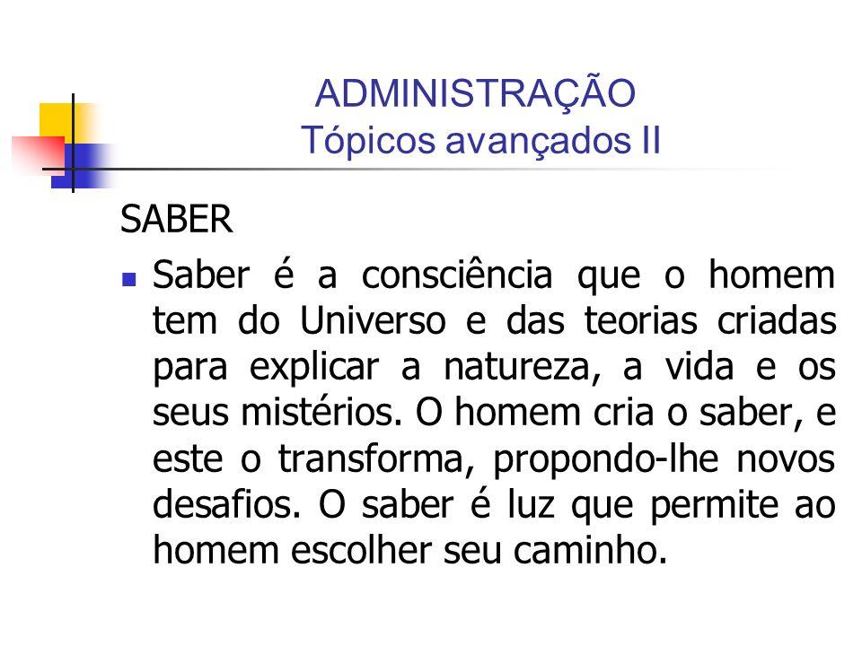 ADMINISTRAÇÃO Tópicos avançados II SABER Saber é a consciência que o homem tem do Universo e das teorias criadas para explicar a natureza, a vida e os