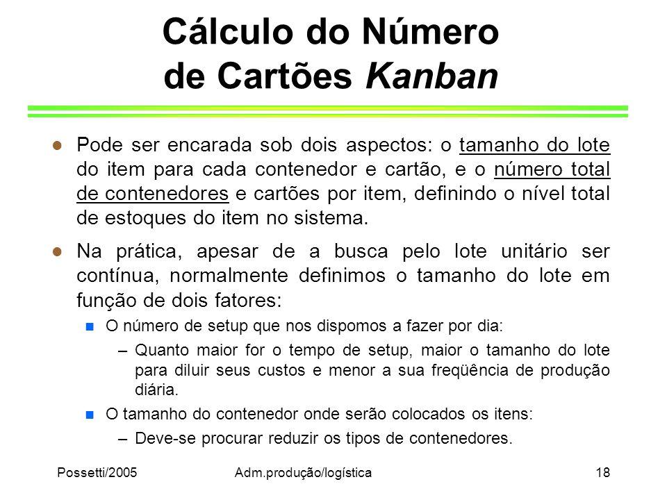 Possetti/2005Adm.produção/logística18 Cálculo do Número de Cartões Kanban l Pode ser encarada sob dois aspectos: o tamanho do lote do item para cada c