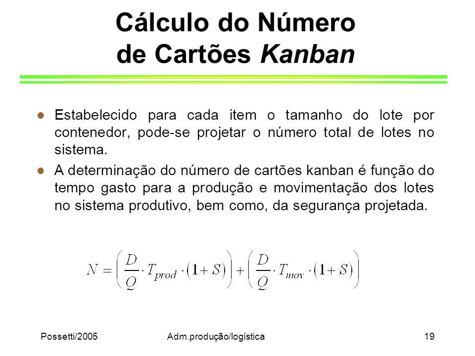 Possetti/2005Adm.produção/logística19 Cálculo do Número de Cartões Kanban l Estabelecido para cada item o tamanho do lote por contenedor, pode-se proj
