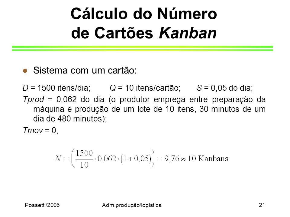 Possetti/2005Adm.produção/logística21 Cálculo do Número de Cartões Kanban l Sistema com um cartão: D = 1500 itens/dia;Q = 10 itens/cartão; S = 0,05 do