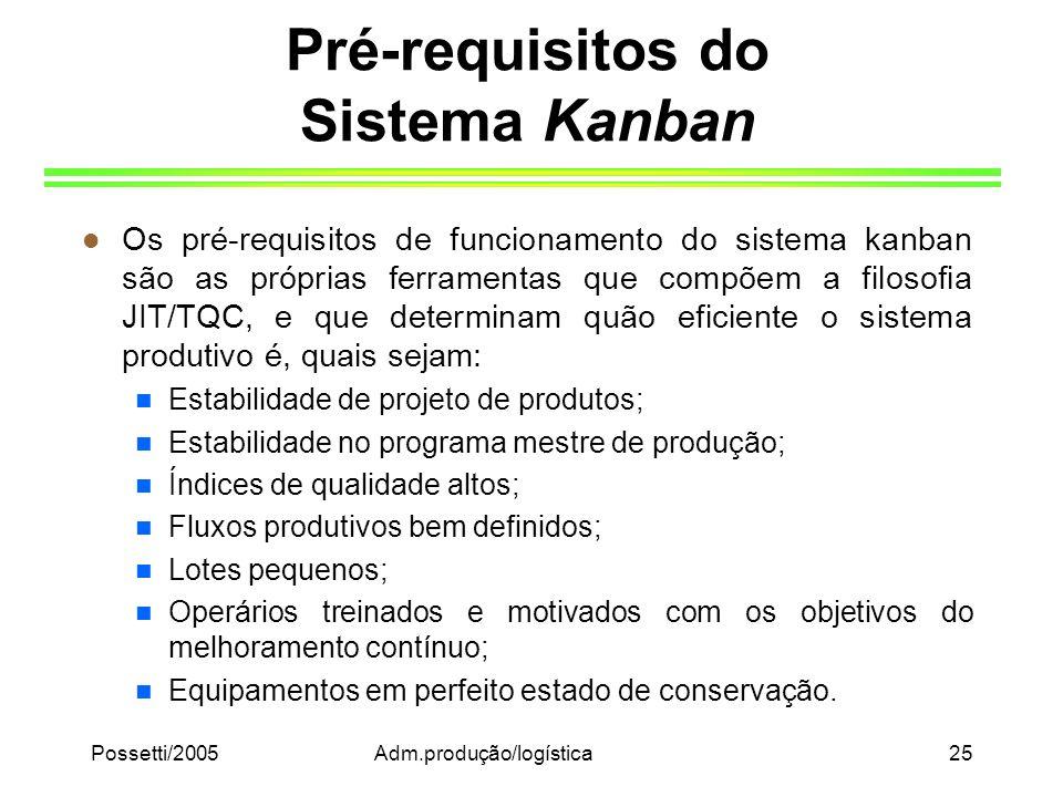 Possetti/2005Adm.produção/logística25 Pré-requisitos do Sistema Kanban l Os pré-requisitos de funcionamento do sistema kanban são as próprias ferramen