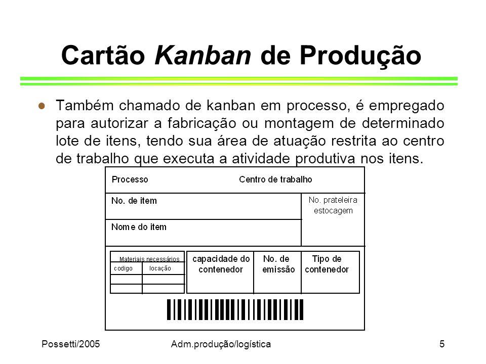 Possetti/2005Adm.produção/logística5 Cartão Kanban de Produção l Também chamado de kanban em processo, é empregado para autorizar a fabricação ou mont