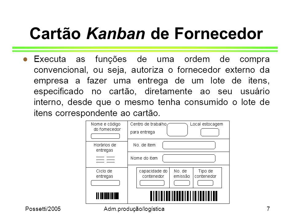 Possetti/2005Adm.produção/logística7 Cartão Kanban de Fornecedor l Executa as funções de uma ordem de compra convencional, ou seja, autoriza o fornece