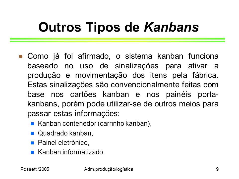 Possetti/2005Adm.produção/logística9 Outros Tipos de Kanbans l Como já foi afirmado, o sistema kanban funciona baseado no uso de sinalizações para ati