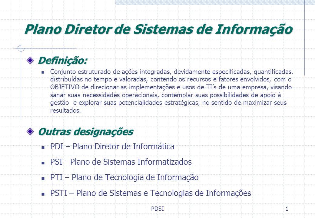 PDSI2 Atributos desejáveis no uso de TIs EFICIÊNCIA (Operacional, transacional) EFICIÊNCIA (Operacional, transacional) Rapidez, precisão, segurança, facilidade Custo de obtenção da informação X Benefício derivado do seu uso EFICÁCIA (Tático, Gerencial) Informações gerenciais ágeis, precisas e suficientes Alcance real dos Objetivos e resultados esperados do uso da Informação Informação => Conhecimento => Decisão => Ação => Resultados EFETIVIDADE (Estratégico) Diferencial competitivo Competências essenciais Consistência e Permanência dos resultados do uso da Informação