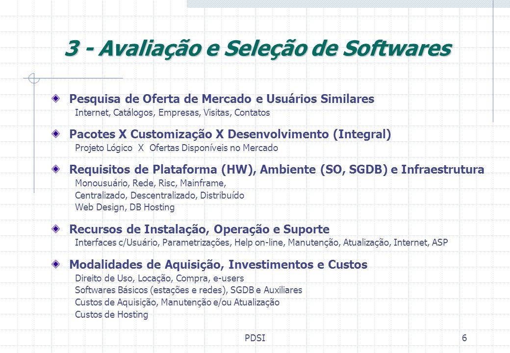 PDSI7 4 - Projeto da Configuração de Equipamentos Definição de Plataforma e Ambiente Operacional (f.Softwares) Topologia, Sistema Operacional, Arquitetura Dimensionamento de Equipamentos Configurações e Quantidade Servidores de rede, de comunicação, impressão, provedor Estações de trabalho, terminais e periféricos - Work Stations Equipamentos de Apoio (modens, hubs, roteadores) Infraestrutura de Instalações No-Break, Ar Condicionado, Piso elevado, Cabeamento Suporte, up-grade e manutenção de Hardware Fornecimento, garantias, reposição, contratos de manutenção Suprimentos e reposições de peças Material de Consumo, Peças