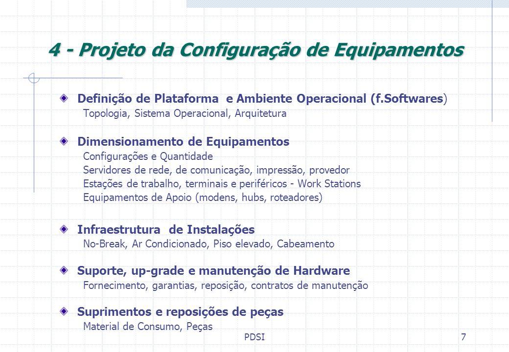 PDSI8 5 - Treinamentos de Usuários (Peopleware) Grade de conhecimento Conhecimento básicos de Informática e da Rede Treinamentos em Softwares Utilitários e suas possibilidades Treinamentos em Software Aplicativo Perfis necessários Levantamento dos Existentes Determinação dos perfis necessários Estabelecimento de Perfis p/Recrutamento Cursos e treinamentos disponíveis Pesquisa de Mercado de oferta Análise de programas de treinamentos Planejamento Custos dos Treinamentos Cronograma Treinamento Atualizações Permanentes