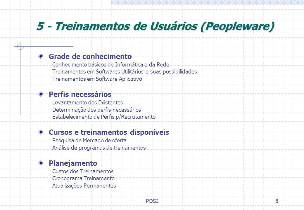PDSI9 6 - Plano Diretor de Sistemas e Informática (PDSI) Especificação, quantificação e valoração de Softwares Básicos, Aplicativos e Auxiliares Especificação, quantificação e valoração de Hardware Arquitetura,Configuração e Apoio Qualificação, quantificação e valoração de Treinamentos de Usuários Plano de Treinamento e Quadro de Perfis Planejamento Orçamento Físico Financeiro Cronograma Implantação Manutenção/Atualização do PDSI Atualização Tecnológica Dimensionamento c/a Empresa