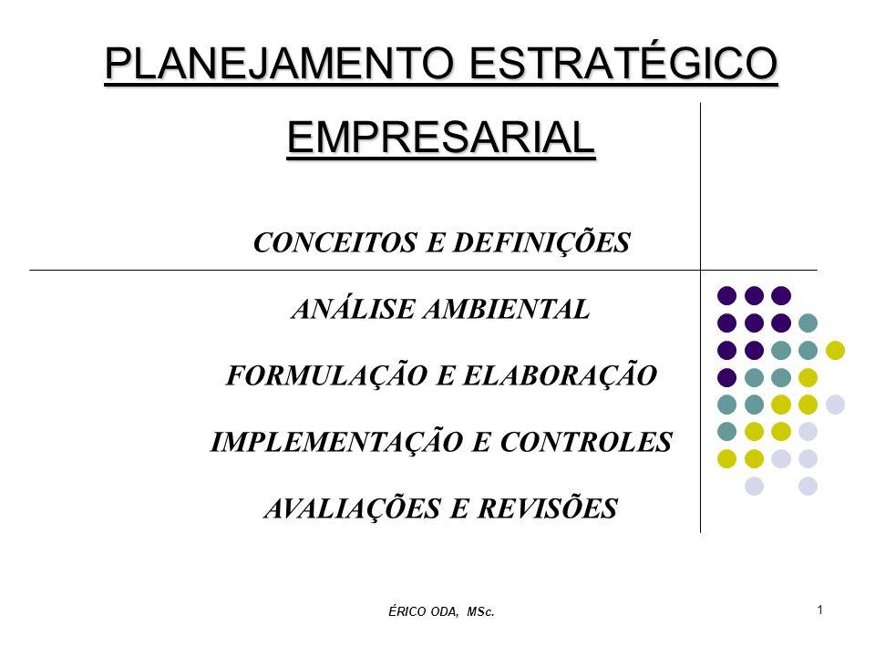 1 PLANEJAMENTO ESTRATÉGICO EMPRESARIAL CONCEITOS E DEFINIÇÕES ANÁLISE AMBIENTAL FORMULAÇÃO E ELABORAÇÃO IMPLEMENTAÇÃO E CONTROLES AVALIAÇÕES E REVISÕE