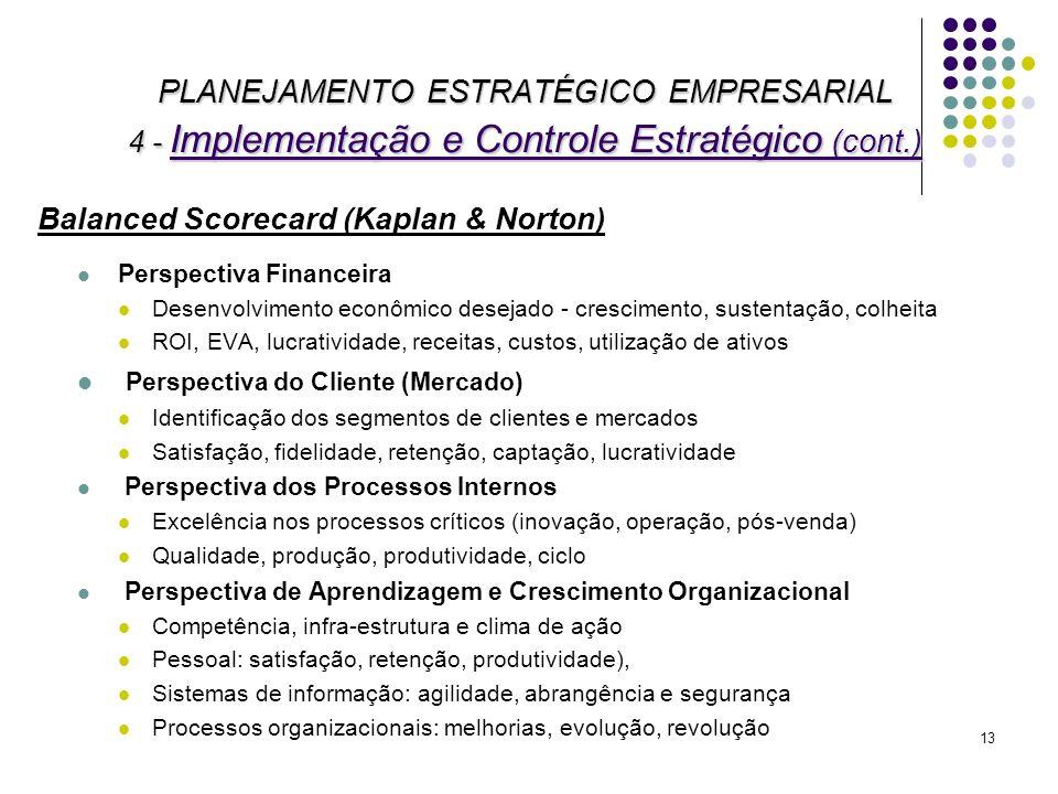 13 PLANEJAMENTO ESTRATÉGICO EMPRESARIAL 4 - Implementação e Controle Estratégico (cont.) Balanced Scorecard (Kaplan & Norton) Perspectiva Financeira D