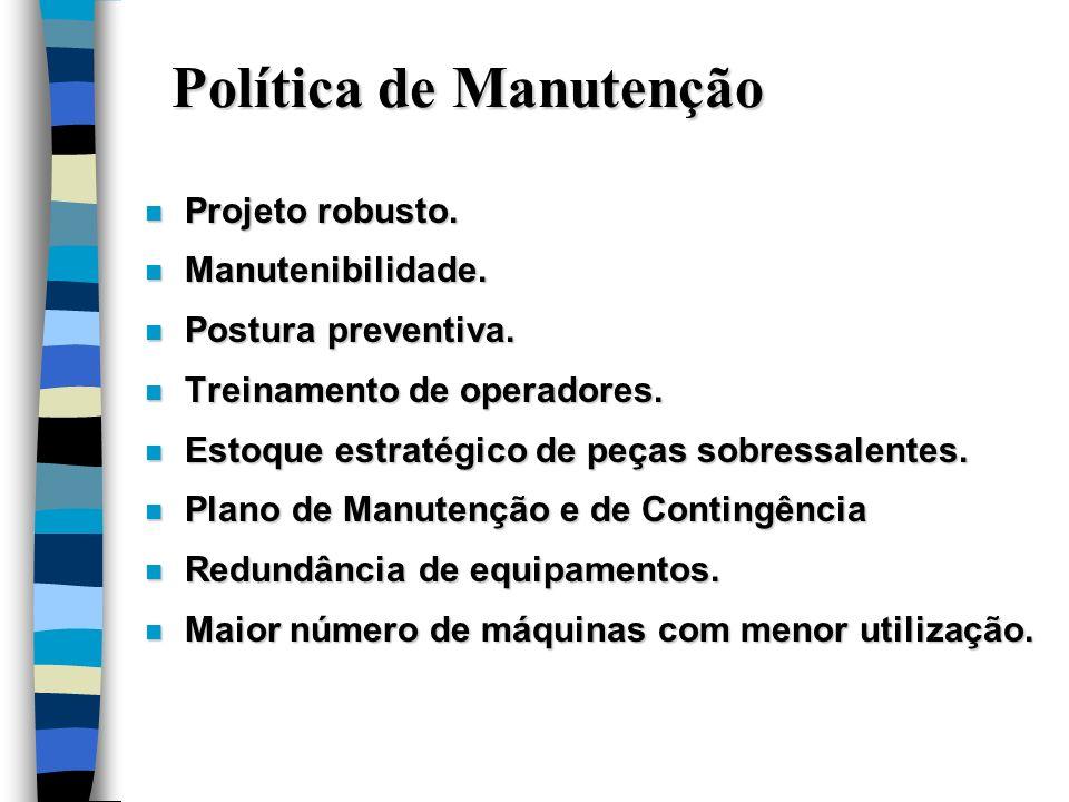 Política de Manutenção n Projeto robusto. n Manutenibilidade. n Postura preventiva. n Treinamento de operadores. n Estoque estratégico de peças sobres