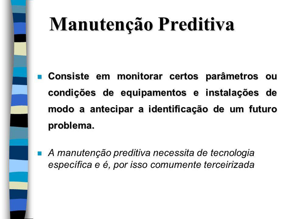 Manutenção Preditiva n Consiste em monitorar certos parâmetros ou condições de equipamentos e instalações de modo a antecipar a identificação de um fu