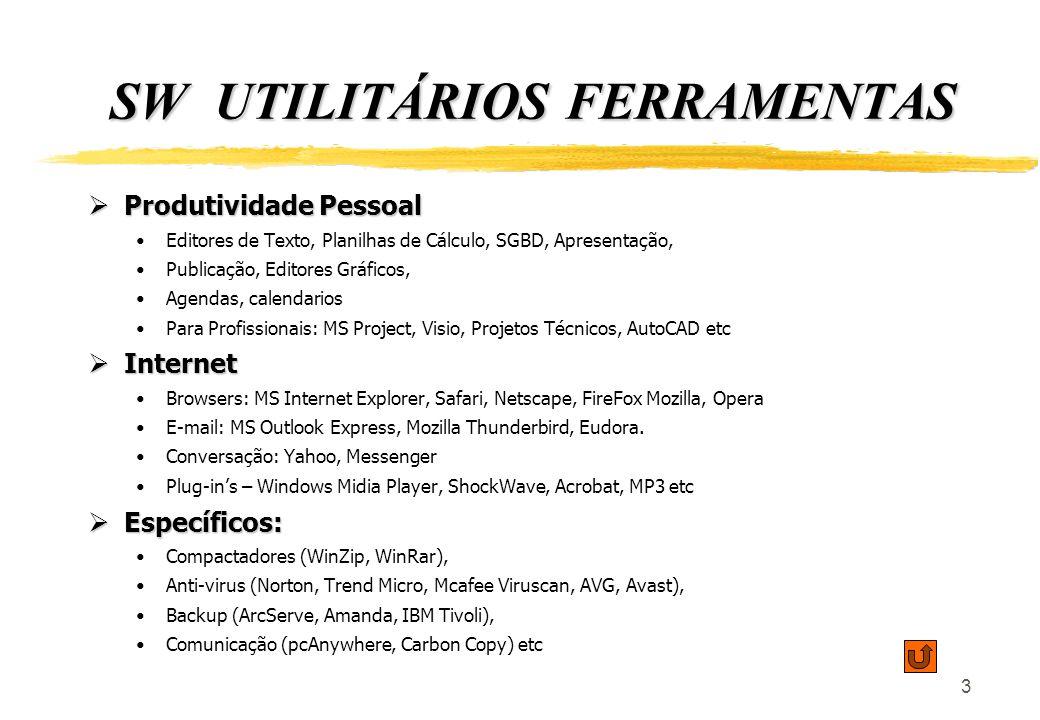 4 SOFTWARES APLICATIVOS Empresariais Genéricos (por Ramo de Atividade e/ou Negócio): Empresariais Genéricos (por Ramo de Atividade e/ou Negócio): Sistemas Integrados: SAP, Oracle (J.D.Edwards, PeopleSoft), Datasul, Totvs (Microsiga, Logocenter RM), Senior, Radar etc Sistemas Integrados: SAP, Oracle (J.D.Edwards, PeopleSoft), Datasul, Totvs (Microsiga, Logocenter RM), Senior, Radar etc Sistemas Funcionais: CRM, Biblioteda, Contabilidade, Folha de Pagamento, Financeiro, Ativo Imobilizado, etc Sistemas Funcionais: CRM, Biblioteda, Contabilidade, Folha de Pagamento, Financeiro, Ativo Imobilizado, etc Intranet: Chats, Mail Server, WorkFlow, GED, VoIP Intranet: Chats, Mail Server, WorkFlow, GED, VoIP Específicos, Técnicos, Funcionais (por Problema/Processo/Projeto) : Específicos, Técnicos, Funcionais (por Problema/Processo/Projeto) : Simuladores: realidade virtual Simuladores: realidade virtual Radares, Controle de Processos Radares, Controle de Processos Gráficos: Geoprocessamento, Roteirizadores, GPS Gráficos: Geoprocessamento, Roteirizadores, GPS Processos únicos, diferenciadores, recursos multimídias etc.