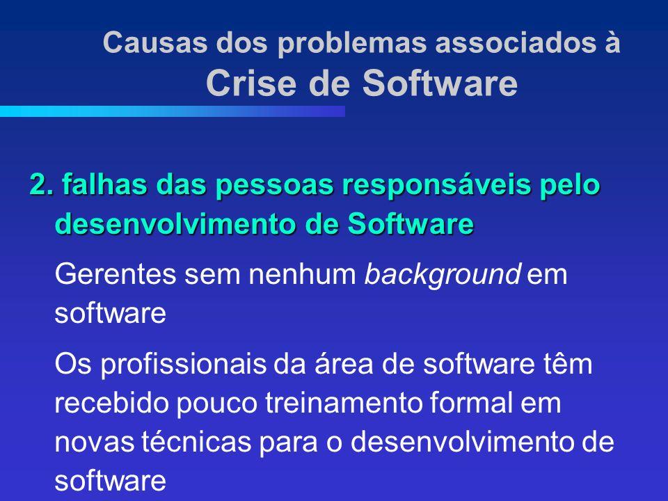 2. falhas das pessoas responsáveis pelo desenvolvimento de Software Gerentes sem nenhum background em software Os profissionais da área de software tê