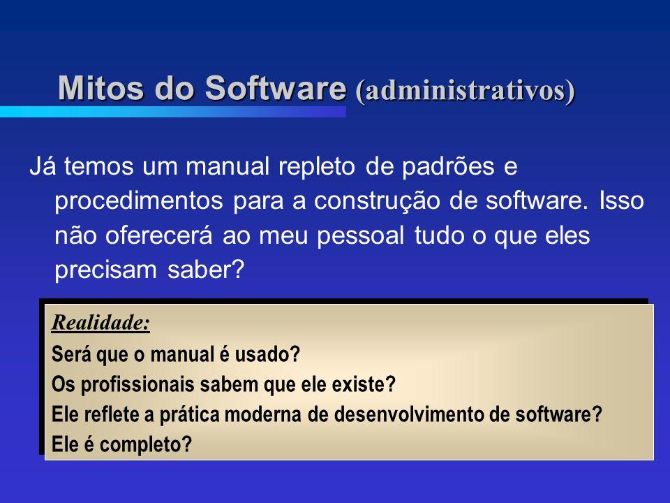 Mitos do Software (administrativos) Já temos um manual repleto de padrões e procedimentos para a construção de software.