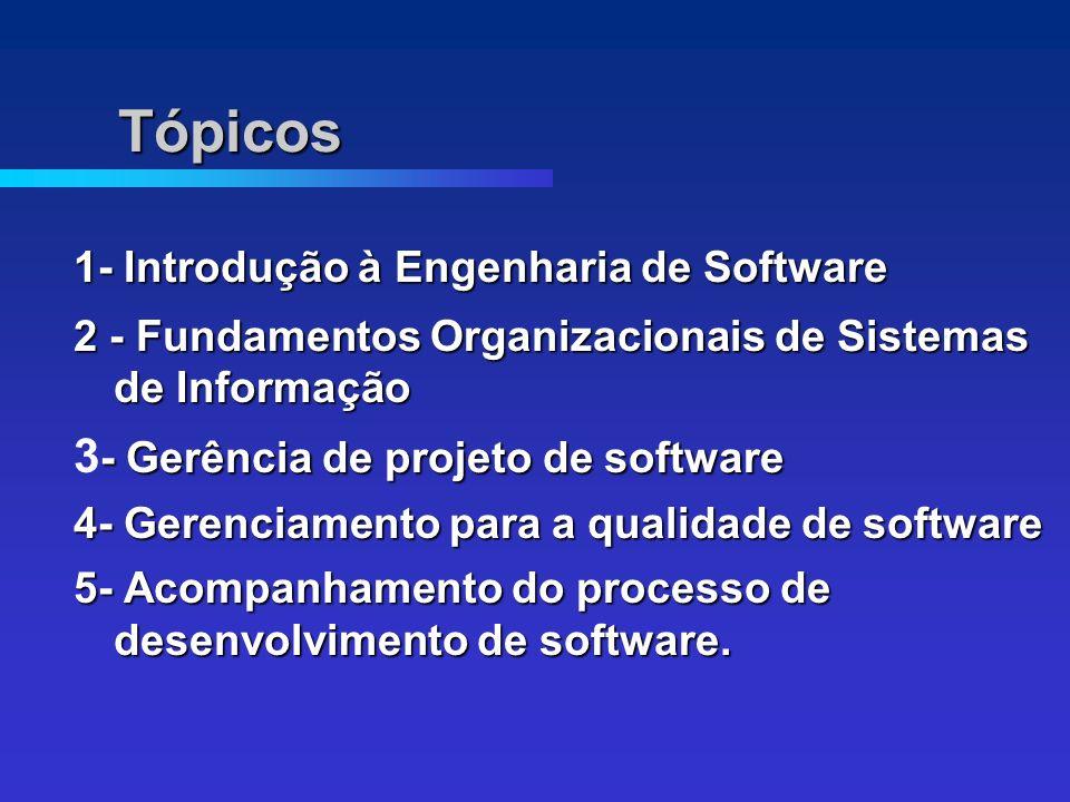 Tópicos 1- Introdução à Engenharia de Software 2 - Fundamentos Organizacionais de Sistemas de Informação - Gerência de projeto de software 3 - Gerência de projeto de software 4- Gerenciamento para a qualidade de software 5- Acompanhamento do processo de desenvolvimento de software.