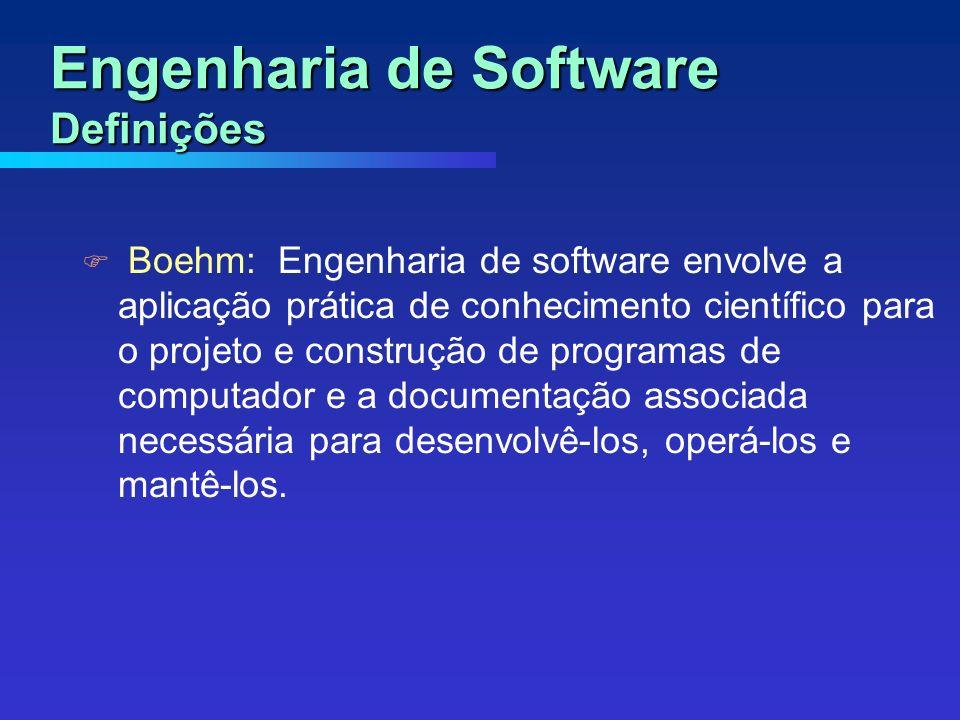 Boehm: Engenharia de software envolve a aplicação prática de conhecimento científico para o projeto e construção de programas de computador e a documentação associada necessária para desenvolvê-los, operá-los e mantê-los.