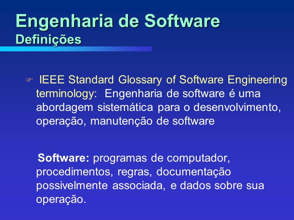 IEEE Standard Glossary of Software Engineering terminology: Engenharia de software é uma abordagem sistemática para o desenvolvimento, operação, manutenção de software Software: programas de computador, procedimentos, regras, documentação possivelmente associada, e dados sobre sua operação.