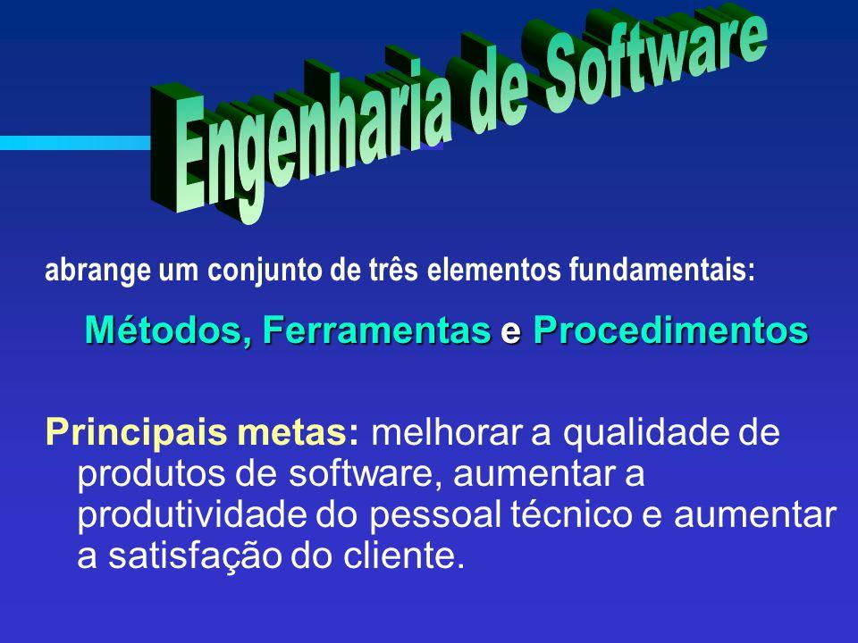 abrange um conjunto de três elementos fundamentais: Métodos, Ferramentas e Procedimentos Principais metas: melhorar a qualidade de produtos de software, aumentar a produtividade do pessoal técnico e aumentar a satisfação do cliente.