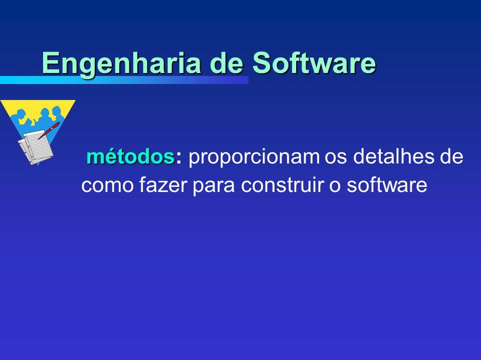 métodos métodos: proporcionam os detalhes de como fazer para construir o software Engenharia de Software