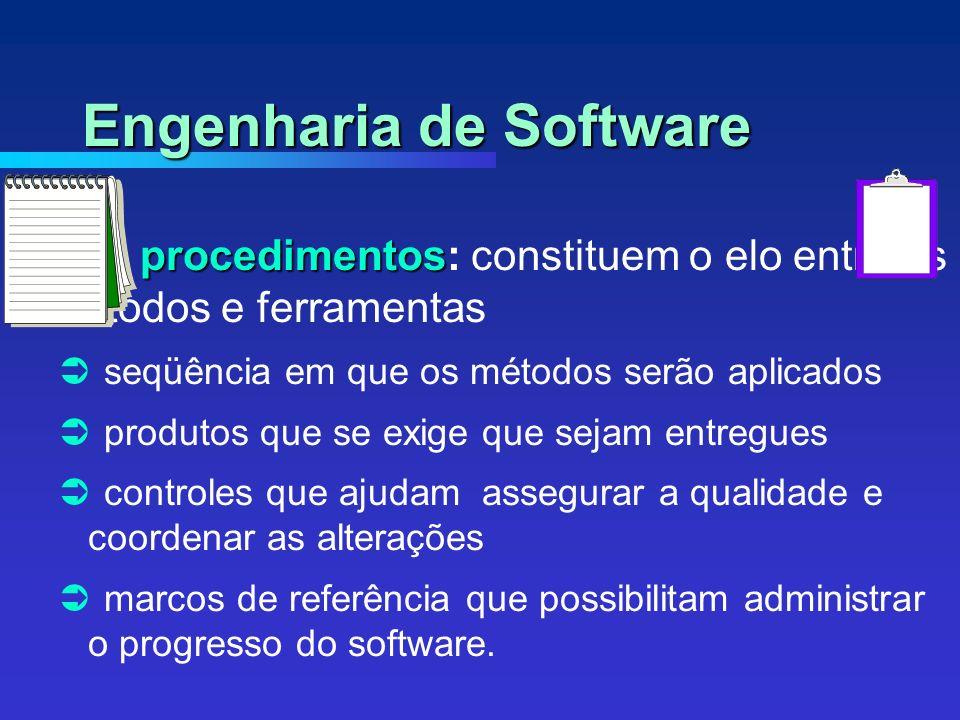 procedimentos procedimentos: constituem o elo entre os métodos e ferramentas seqüência em que os métodos serão aplicados produtos que se exige que sejam entregues controles que ajudam assegurar a qualidade e coordenar as alterações marcos de referência que possibilitam administrar o progresso do software.